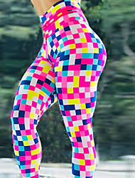 cheap -Women's High Waist Yoga Pants Leggings Butt Lift Breathable Quick Dry Rainbow Gym Workout Running Fitness Sports Activewear Micro-elastic Slim