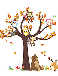 cheap -Forest Animals Tree wall stickers for kids room Monkey owl Jungle wild Wall Decal Baby Nursery Bedroom Decor Poster Mural 100*100cm Wall Stickers for bedroom living room