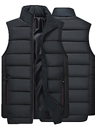 cheap -Men's Daily Regular Vest, Solid Colored Stand Sleeveless Polyester Black / Yellow / Blue