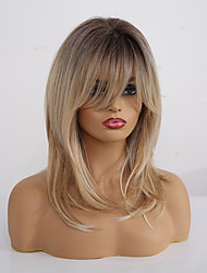 cheap -Synthetic Wig Matte kinky Straight Lily With Bangs Wig Long Light Blonde Synthetic Hair 20 inch Women's Fashionable Design Color Gradient Comfortable Blonde EMMOR