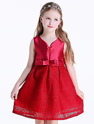 cheap -Princess Dress Flower Girl Dress Girls' Movie Cosplay A-Line Slip Cosplay Red Dress Halloween Carnival Masquerade Chiffon Lace Polyester