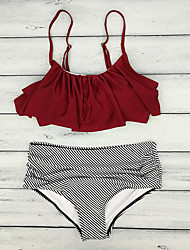 cheap -Women's Basic Wine Halter Cheeky Bikini Tankini Swimwear Swimsuit - Striped Solid Colored Ruffle XL Wine