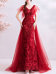 cheap -A-Line Wedding Dresses V Neck Sweep / Brush Train Polyester Short Sleeve Romantic Plus Size Red with Beading Embroidery 2020