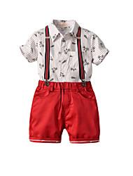 cheap -Kids Toddler Boys' Basic Birthday Party Party & Evening Black & White Geometric Print Short Sleeve Regular Regular Clothing Set Red