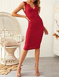 cheap -Women's Elegant Sheath Dress - Solid Colored Black Wine Dark Gray S M L XL