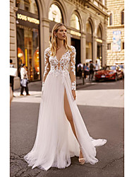 cheap -A-Line V Neck Court Train Lace Long Sleeve Country / Formal / Casual Illusion Sleeve Wedding Dresses with 2020