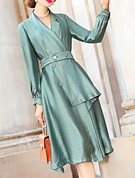 cheap -A-Line Scalloped Neckline Tea Length Polyester Long Sleeve Elegant Mother of the Bride Dress with Sash / Ribbon 2020