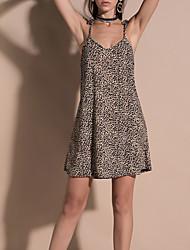 cheap -Women's / Ladies Date Street Trendy Sleeveless A Line Dress - Leopard Print Solid Colored Leopard Print Brown S M L XL