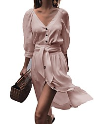 cheap -Women's Asymmetrical A Line Dress - Solid Color V Neck White Blushing Pink Beige S M L XL