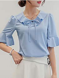 Недорогие -Жен. Однотонный Шнуровка Рубашка Элегантный стиль Офис выходные V-образный вырез Белый / Синий / Розовый