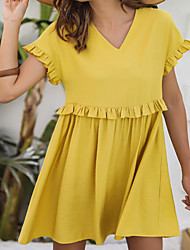 cheap -Women's / Ladies Date Street Trendy T-shirt Sleeve Swing Dress - Solid Colored Ruffle Yellow S M L XL