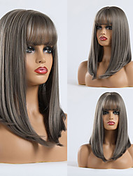 cheap -Synthetic Wig kinky Straight Natural Straight Minaj Neat Bang With Bangs Wig Long Black / Green Synthetic Hair 18 inch Women's Fashionable Design Party Comfortable Green