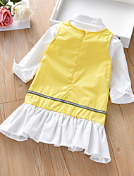cheap -Kids Girls' Boho Solid Colored Pleated Long Sleeve Above Knee Dress Yellow