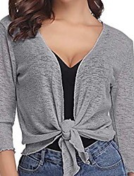 cheap -Women's Solid Colored Long Sleeve Cardigan Sweater Jumper, V Neck Black / White / Gray S / M / L