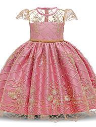 cheap -Kids Toddler Girls' Flower Sweet Floral Beaded Embroidered Short Sleeve Knee-length Dress Blushing Pink