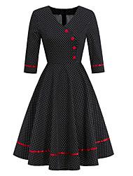 cheap -Female / Ladies Daily Wear Festival Hepburn Swing Dress - Polka Dot Deep V Black S M L XL