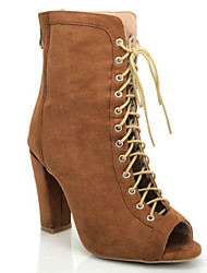 cheap -Women's Dance Boots Suede Boots Thick Heel Dance Shoes Brown