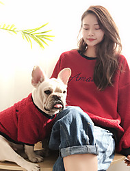 cheap -Dog Cat Costume Sweatshirt Matching Outfits Color Block Quotes & Sayings Simple Style Casual / Sporty Sports Casual / Daily Winter Dog Clothes Puppy Clothes Dog Outfits Warm Red Pink Green Costume