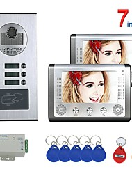 cheap -7 Inch 2 Apartment/Family Video Door Phone Intercom System RFID IR-CUT HD 1000TVL Camera Doorbell Camera  Waterproof