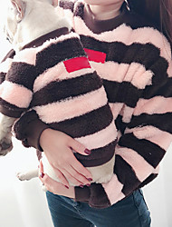 cheap -Dog Cat Costume Sweatshirt Matching Outfits Winter Dog Clothes Warm Black Pink Costume Bulldog Bichon Frise Schnauzer Plush Striped Color Block Stripes Casual / Sporty Women M S M L XL
