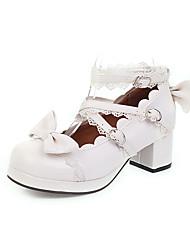 cheap -Women's Heels Chunky Heel Round Toe PU Spring &  Fall Black / Dark Brown / White