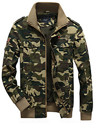 cheap -Men's Daily Fall & Winter Regular Jacket, Camo / Camouflage Hooded Long Sleeve Polyester Army Green / Khaki