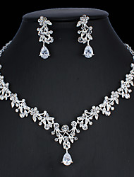cheap -Women's White Cubic Zirconia Hoop Earrings Necklace Bridal Jewelry Sets Classic Drop Pear Basic Korean Sweet Cute Imitation Diamond Earrings Jewelry Silver For Wedding Party Engagement Two-piece Suit
