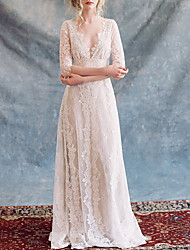 cheap -A-Line V Neck Floor Length Lace / Tulle Half Sleeve Formal Plus Size Made-To-Measure Wedding Dresses with Appliques / Lace Insert 2020