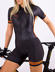 cheap -21Grams Women's Short Sleeve Triathlon Tri Suit Black / Orange Bike Clothing Suit UV Resistant Breathable Quick Dry Sweat-wicking Sports Solid Color Mountain Bike MTB Road Bike Cycling Clothing