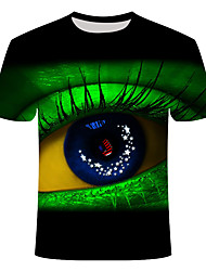 Недорогие -Муж. Большие размеры Графика Глаза С принтом Тонкие Футболка Классический Повседневные Круглый вырез Зеленый / С короткими рукавами