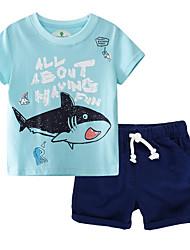 cheap -Kids Boys' Basic Color Block Short Sleeve Clothing Set Silver