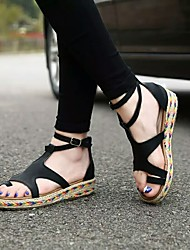 cheap -Women's Sandals Flat Heel Open Toe Buckle PU Business / Vintage Spring &  Fall / Spring & Summer Black / Brown / Green / Party & Evening