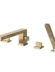 cheap -Bathtub Faucet - Contemporary Nickel Brushed Roman Tub Brass Valve Bath Shower Mixer Taps / Two Handles Four Holes