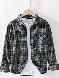 cheap -Men's Daily Plus Size Cotton / Linen Shirt - Plaid Black / Long Sleeve