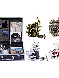 cheap -Professional Tattoo Kit Tattoo Machine - 4 pcs Tattoo Machines, High Speed / Dynamics Adjustable / Universal Alloy / Carbon Steel # 2 steel machine liner & shader / 2 carved machine liner & shader