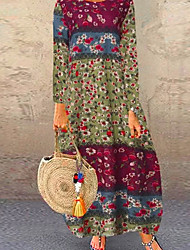 cheap -Women's Elegant Maxi Loose Shift Dress - Geometric Purple Red Navy Blue S M L XL