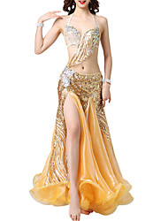cheap -Belly Dance Outfits Women's Performance Polyester Split Joint / Split / Crystals / Rhinestones Skirts / Top