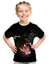 cheap -Kids Girls' Active Street chic 3D Animal Print Short Sleeve Tee Black