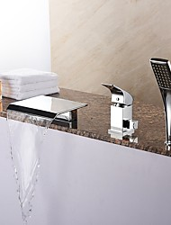 cheap -Bathtub Faucet - Contemporary Chrome Roman Tub Ceramic Valve Bath Shower Mixer Taps / Brass / Single Handle Three Holes