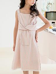 cheap -Kids Girls' Cute Boho Striped Bow Drawstring Sleeveless Knee-length Dress Blushing Pink