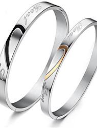 Недорогие -Для пары Браслет цельное кольцо Классический Любовь Стиль Титановая сталь Браслет Ювелирные изделия Золотой / Серебряный Назначение Подарок На каждый день