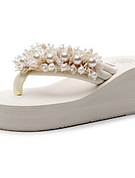 cheap -Women's Slippers & Flip-Flops Glitter Crystal Sequined Jeweled Wedge Heel Open Toe Imitation Pearl / Beading Polyester Chinoiserie / British Walking Shoes Summer / Spring & Summer Black / Beige