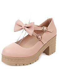 cheap -Women's Heels Chunky Heel Round Toe PU Spring &  Fall White / Beige / Light Blue