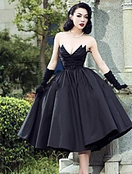 cheap -A-Line Wedding Dresses Strapless V Neck Tea Length Tulle Polyester Strapless Sexy Black with 2020