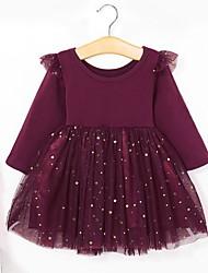 Недорогие -Дети Девочки Однотонный Платье Черный