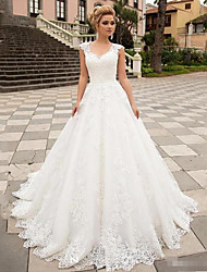 cheap -A-Line Wedding Dresses V Neck Sweep / Brush Train Lace Tulle Strapless Country with 2020