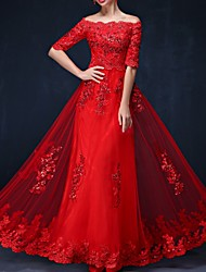 cheap -A-Line Off Shoulder Floor Length Polyester Elegant Formal Evening / Holiday Dress with Appliques 2020
