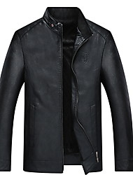cheap -Men's Daily Fall & Winter Regular Jacket, Solid Colored Stand Long Sleeve PU Black / Wine / Brown