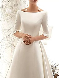 cheap -A-Line Bateau Neck Court Train Polyester Half Sleeve Vintage / Sexy Wedding Dresses with Bow(s) 2020