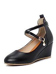 cheap -Women's Heels Wedge Heel Round Toe Buckle PU Minimalism Spring & Summer Black / Almond / Pink / Party & Evening